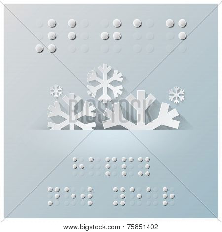 Braille Alphabet New Year Background With Paper Graphic Style
