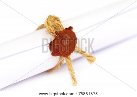Wax Seal On A Rolled Paper