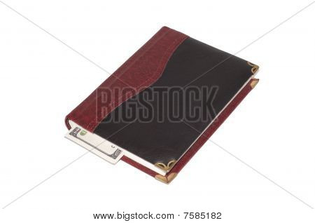 Black and brown leather diary with bookmark isolated on white