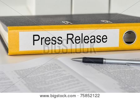 Yellow folder with the label Press Release