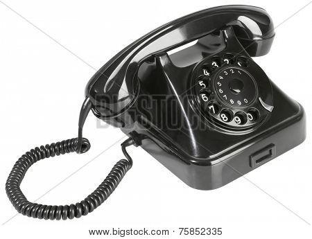Black Rotary Phone Isolated on White Background