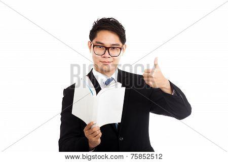 Asian Businessman Read A Book Show Thumbs Up