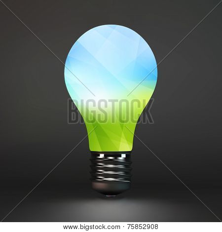 Lightbulb eco symbol. 3d vector illustration. Can be used as background for your presentation.