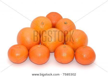 Oranges and mandarins isolated on white background