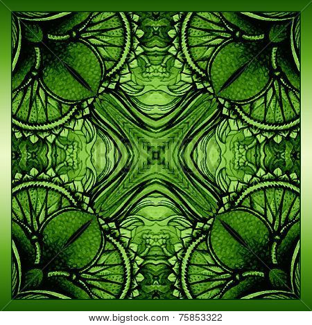 Vector background with ornament. Green background.