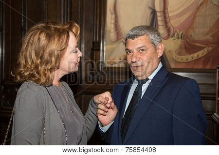MOSCOW - JUNE, 20: L. Udovichenko and A. Atanesyan. Press conference Russian Italian film Amori elementari. Welcome reception at the Embassy of Italy. June 20, 2014 in Moscow, Russia