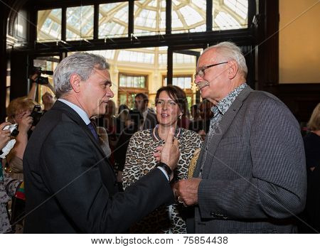 MOSCOW - JUNE, 20: T.Semina and Press conference Russian Italian film Amori elementari. Welcome reception at the Embassy of Italy. June 20, 2014 in Moscow, Russia