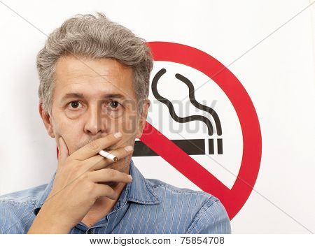 Man. No smoking concept a no smoking sign