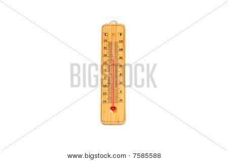 Yellow wooden thermometer isolated on white background