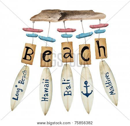 beach wind chime on white background