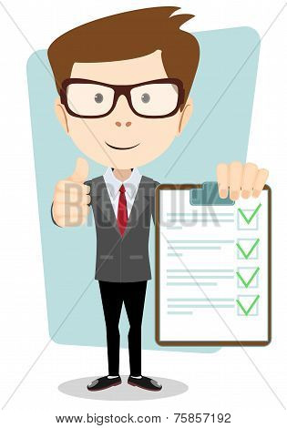 Businessman Hipster  Holding a Paper With Green Flags, Vector
