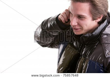 Young Man Phoning On A Mobile Phone