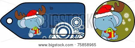 elephant xmas baby cartoon gift card