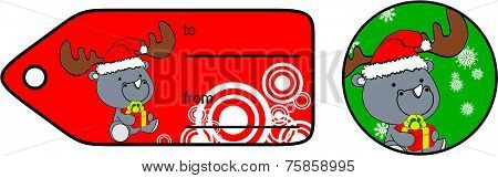 rhino xmas baby cartoon gift card