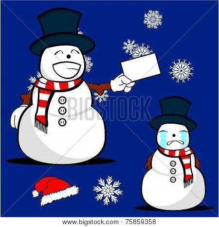snow man cartoon xmas set6