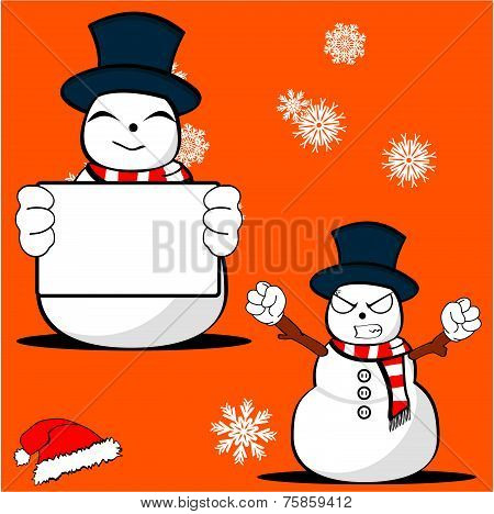 snow man cartoon xmas set3