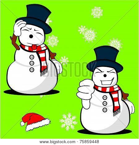 snow man cartoon xmas set2