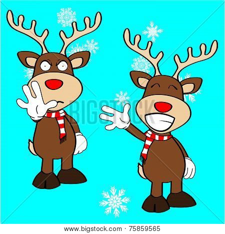 xmas reindeer cartoon expression set08