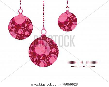 Vector ruby Christmas ornaments silhouettes pattern frame card template