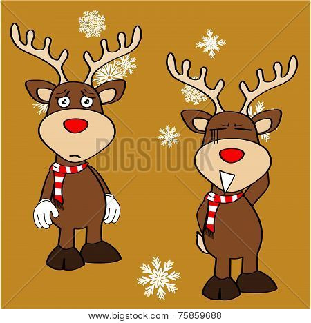 xmas reindeer cartoon expression set4