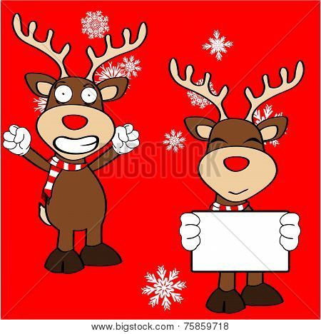 xmas reindeer cartoon expression set1