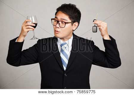 Asian Businessman Choose Drink Or Drive