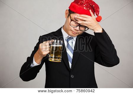 Asian Businessman Get Drunk And Sleepy With Beer