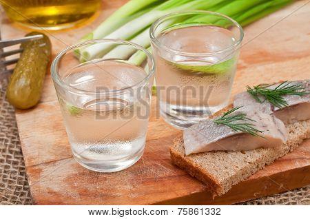 Vodka And Fish Sandwich Herring