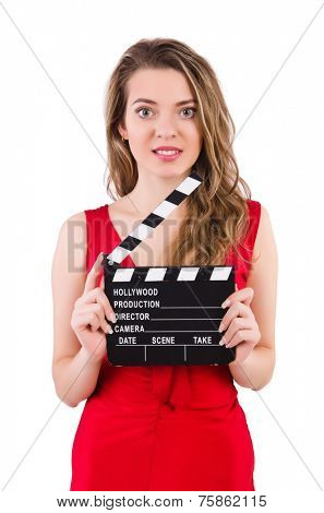 Woman with clapperboard isolated on white