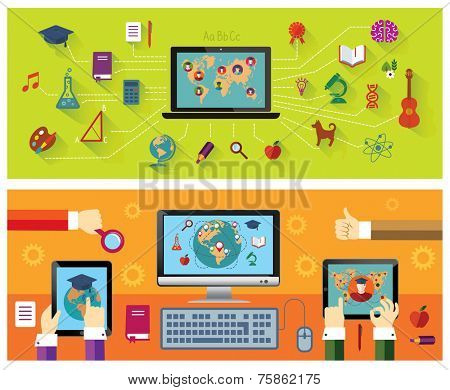 Set of banners: Online education. Modern technology. Education icons.