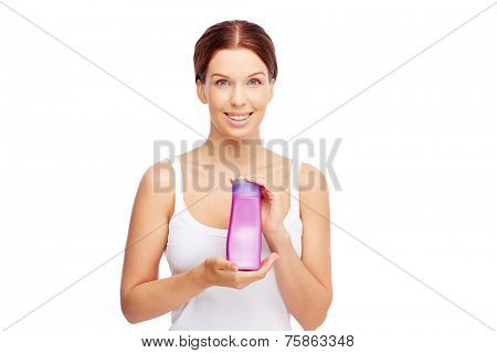 Pretty young woman with body lotion or shower gel