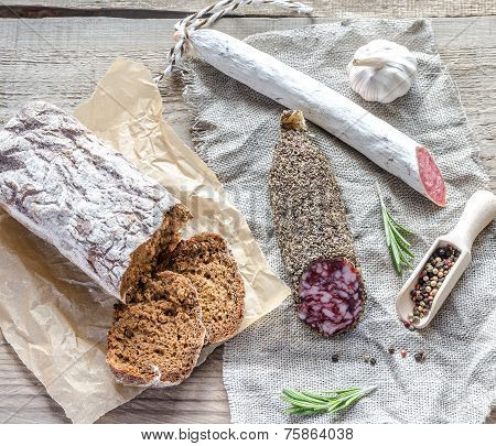 Saucisson And Spanish Salami On The Sackcloth