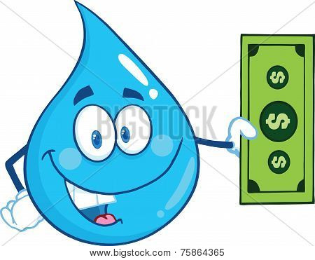 Water Drop Character Showing A Dollar Bill