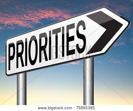 priorities sign important very high urgency info highest importance crucial information top priority dont forget