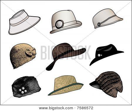 vector set of hats