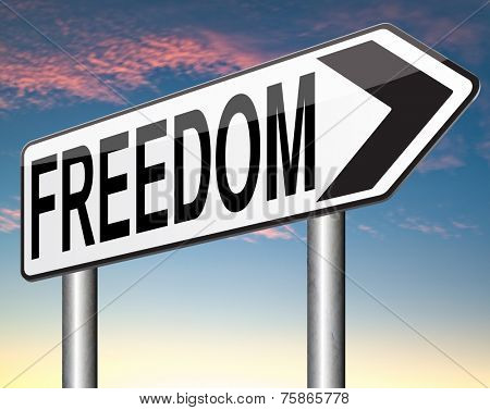 freedom peaceful land of the free life without restrictions or obligations and peace democracy with text and word concept