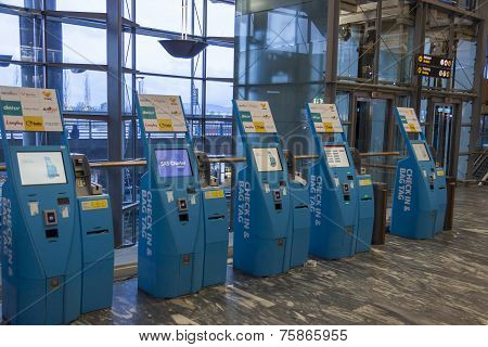 Oslo, Norway - 27 November 2014: Automatic Passenger Clearance At The Airport Oslo Gardermoen