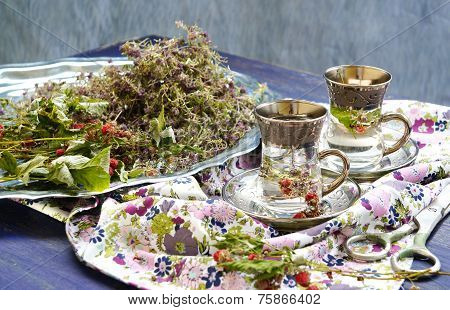 Healthy Tea with Thyme And Dry Rasberry