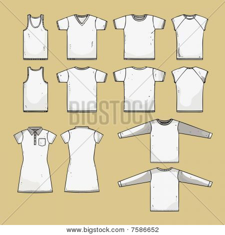 t-shirt templates - front and back