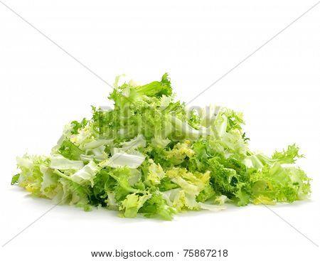a pile of chopped escarole endive on a white background