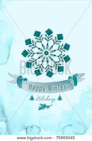 Vector watercolor Christmas background. Watercolor winter frozen snowflake.
