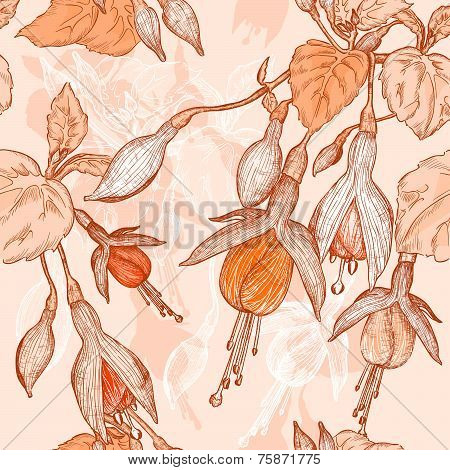 Seamless pattern with fuchsia flowers