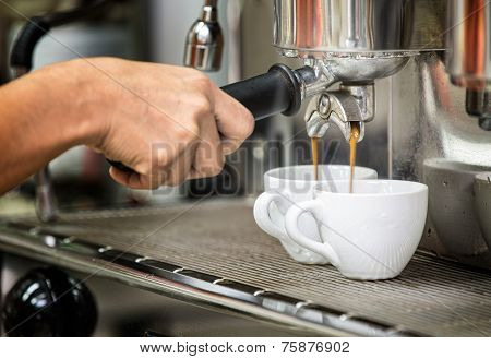 Prepares Espresso In His Coffee Shop