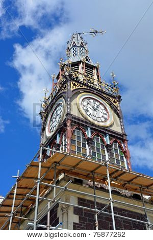 Repairs Start On Iconic Diamond Jubilee Clock Tower In Christchurch.