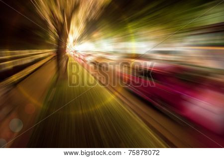 Abstract zoom blur of night scene road