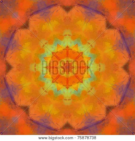 Orange watercolor mandala design. Indian Chackra concept. Yoga mehndi design