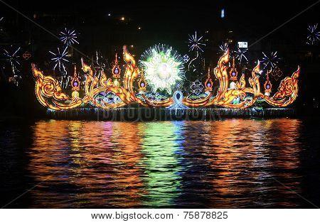 Light Show Of A Boat In Loy Krathong Festival