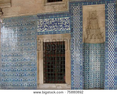 Mosaics Covering Tmosaics Covering The Outside Walls  Of The Rustem Pasha Mosque,  In Istanbul, Turk