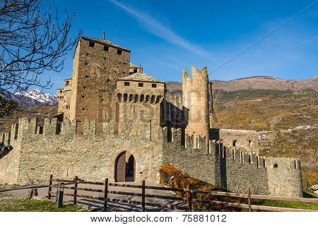The Fenis Castle in Aosta Valley, Italy