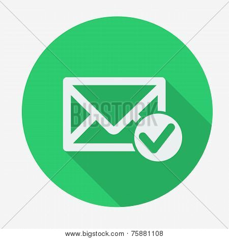 Single flat icon with long shadow for web applications, email icons design.